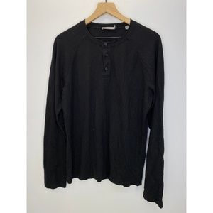 Vince Men's Long Sleeve Solid Tee Shirt Black Sz M